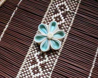 Aqua Cream | Kanzashi Flower Hair Clip
