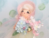 Easter decor easter ornament art doll pastel shabby vintage retro inspired  pink and yellow blond doll