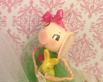 Easter ornament spring decor easter doll easter decor vintage retro inspired pig ornament green pink party decor anthropomorphic