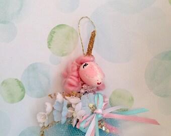 Pink Unicorn ornament pink gold and aqua blue vintage inspired unicorn art doll