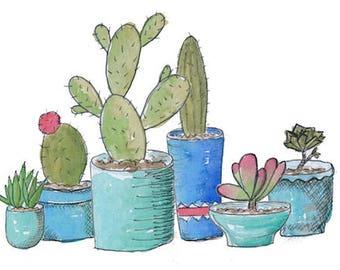 Cactus Art print - succulents in turquoise pots pot plants artwork - watercolour and ink