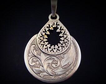 Art Nouveau Hand Engraved Sterling Silver Pendant