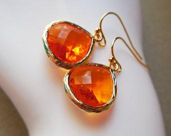 Sunset orange drop earrings tangerine glass earrings elegant faceted small fancy for women sun orange fire opal color glass jewel earrings