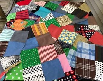 Lot of 35 Vintage 1970's Era Machine Pieced Four Patch Quilt Blocks