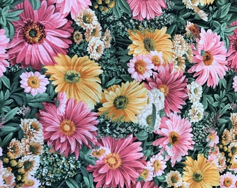 1 Yard of Pink and Yellow Floral Print Cotton Fabric