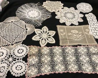 Lot of 10 Vintage Off White/Ecru Hand Crochet Doilies
