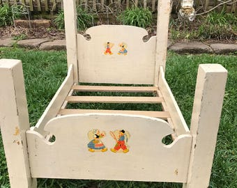 Antique/Vintage Wooden Creamy White Paint Doll Baby Bed