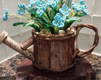 French Beaded Flower -- Bunches of Forget-me-not in Wood Watering Pot (FREE SHIPPING)