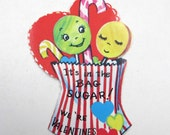 Vintage Unused Children's Valentine Greeting Card with Adorable Anthropomorphic Candy Lollipops Suckers Candy Canes in Red Striped Bag