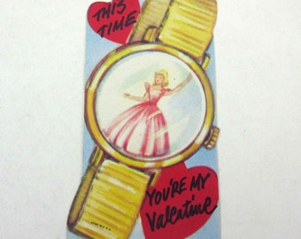 Vintage Children's Novelty Valentine Greeting Card with Wrist Watch and Fairy Princess Clock Time