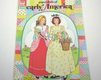 Vintage 1970s Uncut Children's Paper Dolls of Early America Book by Whitman