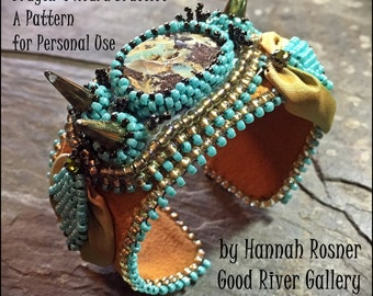 RECENTLY UPDATED! Bead Pattern Wired Ribbon Dragon's Hoard Cuff Bracelet tutorial instructions - peyote stitch & embroidery beading - Hannah