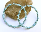 Turquoise beaded hoop earrings - Large hoops - powder blue - Large beaded hoops
