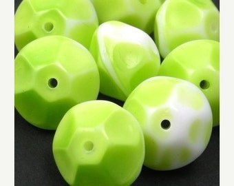 50% OFF SALE 4 Vintage Glass Beads - Faceted Rondelle - Green and White 12mm VGB60