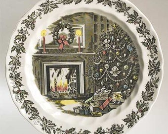 """Merry Christmas by Johnson Brothers, 12"""" Chop Plate/Round Platter / Discontinued, 1958 - 1995, Tree, Holly, Fireplace, Wreath, Candles"""
