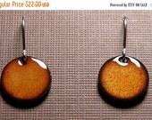 Short Dangle Earrings, Orange Copper Enameled Jewelry, Sterling Silver French Hook Earwires, Persimmon Orange, Handmade Earrings