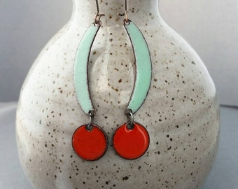 Dangle & Drop Earrings, Blue and Orange Copper Enamel Earrings, Nickel free kidney ear wires Sweet Spot Earrings
