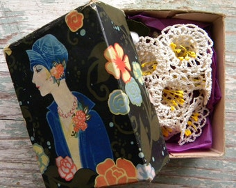 Vintage 1920's Box with Crocheted Floral Whimsey Inside Flapper Woman Portrait Lid
