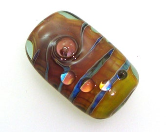Handmade Lampwork Glass Focal bead. Encased silver glass, earthtones, silver blue, pale aqua, bubble dots, dewdrops.