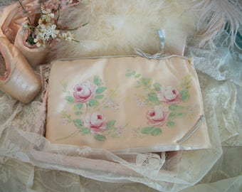 1940s vintage hand painted lingerie bag, soft matte satin, pink roses, excellent clean condition, a castleman creation, hollywood calif.