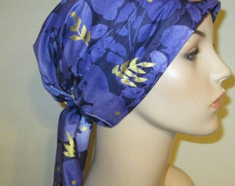 Purple and Gold Floral  Chemo Scarf, Hat, Cancer Hat, Hijab, Alopecia MADE in USA{