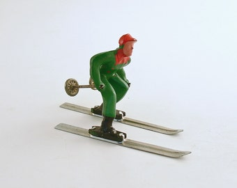 Vintage Skier Metal Figurine Barclay Lead Christmas Decoration