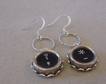 Typewriter Key Earrings  QUESTION MARK STAR Typewriter Key Jewelry Dangle Earrings Steampunk