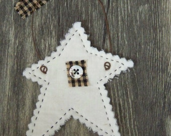 Set of 4 Hand Quilted Star Ornaments