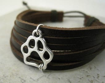 Brown Cuff Leather Bracelet Cute Silver Puppy Paw