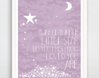 Twinkle Twinkle Little Star Do You Know How Loved You Are - Lavender Purple Nursery Wall Art Print - Baby Wall Art