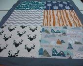 Mountain Adventure Navy Teal Gray Orange Deer Minky Baby Blanket 29 x 43 READY TO SHIP On Sale
