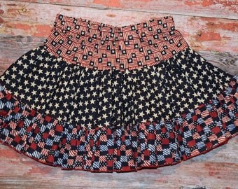 AMERICANA Girls twirly skirt sizes 3 - 5 - 7   July 4 RED WhITe & BLUE  patriotic Ready to Ship!