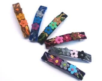 SPRING 2017 - Floral embroidered velvet hair barrette, bridal hair clip, mother's day gift, thick hair clip barrette, garden party accessory