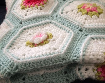 Crochet baby blanket pattern, Hearts and Flowers, crochet throw pattern, heirloom crochet