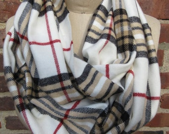 Plaid Infinity Scarf Winter White Neck Wrap Check Flannel Cowl Unisex Boho Chic Loop Warm Winter Muffler Preppy Checkered Accessory Gift