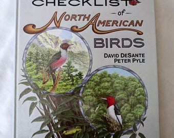 Vintage BIRD BOOK - North American Birds Checklist - Vol 1 - Ilustrated - David DeSante,Peter Pyle - Catalogue - Bird Diary - Twitchers