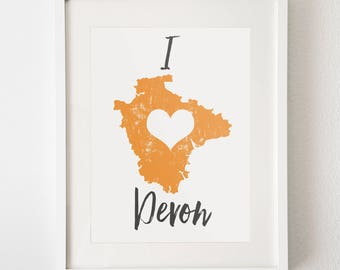 Map print 'I Love Devon'