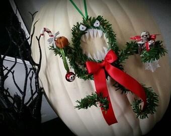 NIGHTMARE before Christmas evil MEAN man eating monster wreath ORNAMENT