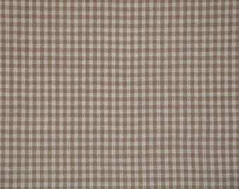 Small Check Material   Homespun Material   Taupe Small Check Material    Cotton Material   Home Decor Material   Quilt Material   1 Yard