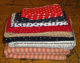 Americana Material Scrap Bundle | Cotton Americana Material | Bundle Americana Material