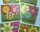 RESERVED for Lisa Floral Gift Cards set of Six Thank You So Much Thanks Butterfly Flowers Green Handmade Paper Spring Garden Friendship