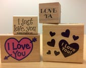 Set of 4 Four Love Wood Mounted Rubber Stamps Used Ya I Just You Craftsmart Craft Smart Stampin Up Hearts Valentine Notes Cards Scrapbooking