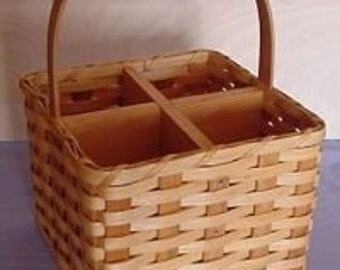 Amish Handmade Four Bottle Wine Carrier Basket