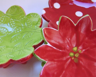 poinsettia pottery Dish Set :) 3 ceramic serving flowers, whimsical hostess gift, candleholders, polka-dots, ring dish, soap dish