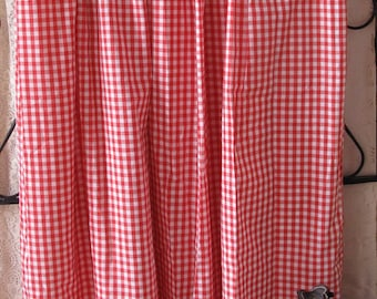 """Vintage Pair Red White Gingham Drapes Pinch Pleat Curtains 45"""" Handmade Retro Cottage 1960's Shabby Farmhouse  Chic FREE US SHIPPING"""