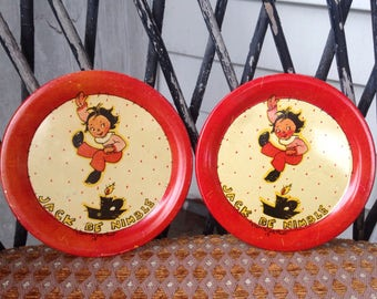 Vintage 1930s Set of Tin Toy Jack Be Nibble Plates by Fern Bisel Peat