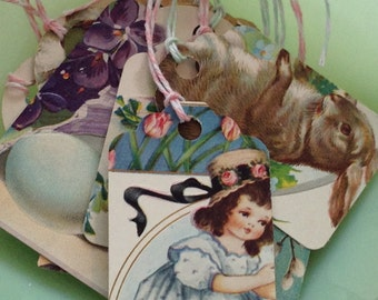 Victorian Ephemera Easter Tags Bunnies Chicks Made from Antique Postcards Vintage OOAK