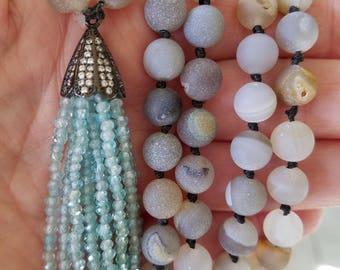 Blue Aquamarine Tassel Necklace Grey Agate Mala Yoga Jewelry