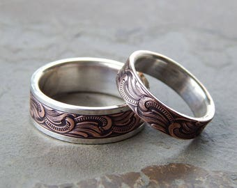PAISLEY Silver & Copper // Men's Wedding Ring // Women's Wedding Ring // Men's Wedding Band // Women's Wedding Band // Unique Wedding Band
