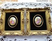 Holiday Sale Vintage B&S Creations Romantic Couple by Fragonard Framed Porcelain Ovals